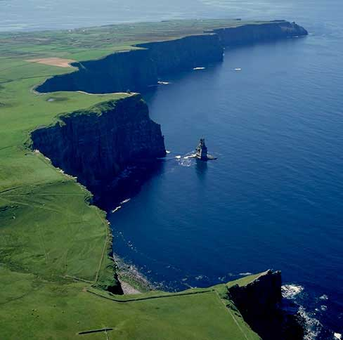 Ariel view of the Cliffs of Moher