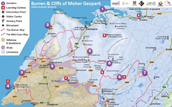 Map Of The Burren Ireland.Burren And Cliffs Of Moher Unesco Geopark Maps Burren And
