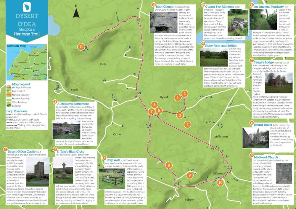 Map Of The Burren Ireland.Heritage Walking Trails Burren And Cliffs Of Moher Geopark Ireland