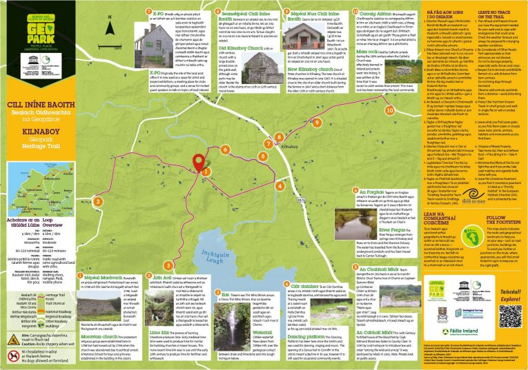 Map Of Ireland Heritage Sites.Heritage Walking Trails Burren And Cliffs Of Moher Geopark Ireland