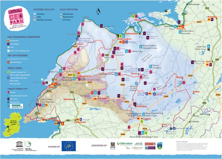 Map Of The Burren Ireland.Guides And Publications To The Burren And Cliffs Of Moher